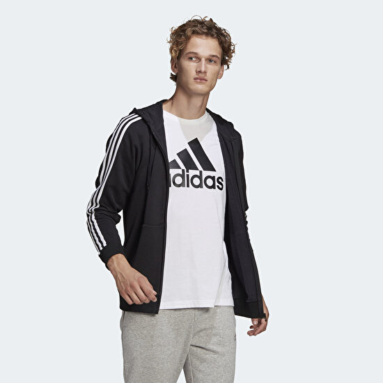 Picture of ESSENTIALS FRENCH TERRY 3-STRIPES FULL-ZIP HOODIE