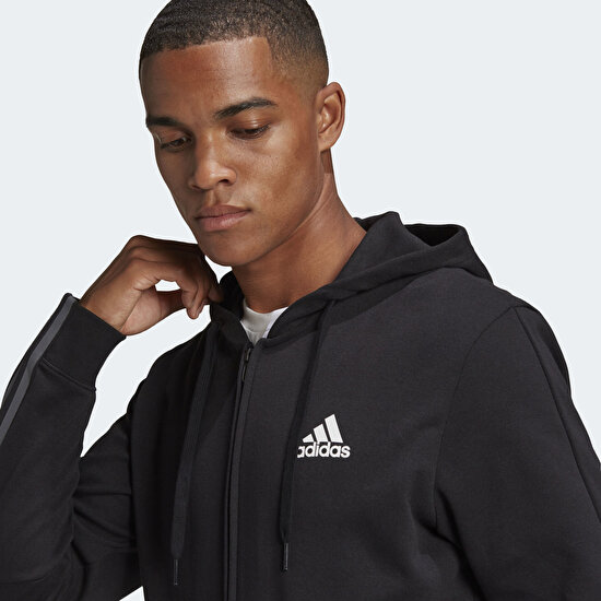 Picture of Essentials Doubleknit Cut 3-Stripes Full-Zip Hoodie