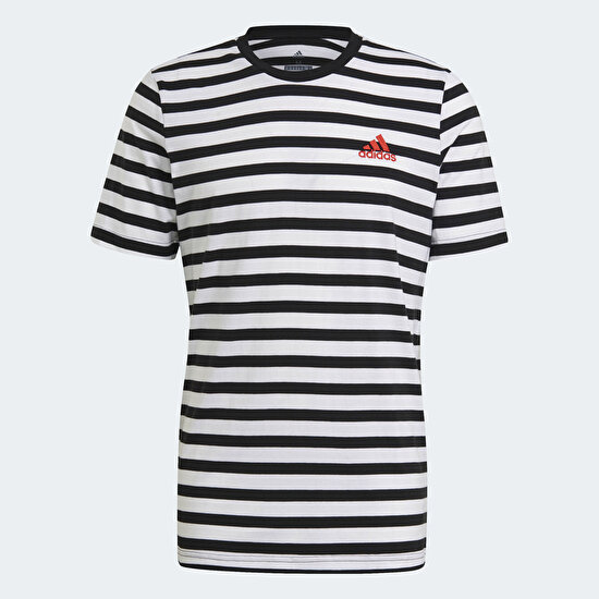 Picture of Essentials Stripey Embroidered Logo Tee